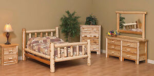Amish made white cedar rustic log furniture queen size bed 48 *FREE SHIPPING*