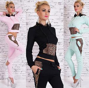 Women-039-s-Tracksuit-2-Piece-Jogging-With-Hood-Leopard-Print-Gym-Suit-8-10-12