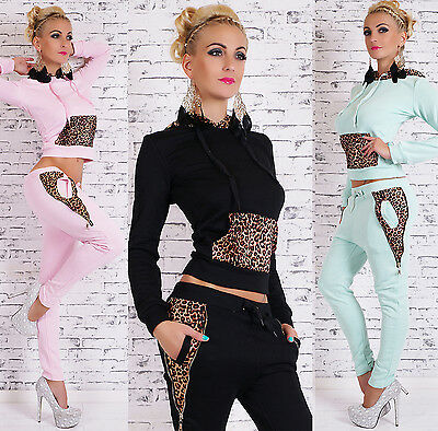 Sexy Womens 2-Piece Full Tracksuit Jogging With Hood Leopard Print Suit 8,10,12