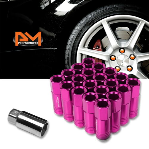 M12X1.25 Pink JDM Open End Conical Hex Wheel Lug Nuts+Extension 20mmx60mm 20Pc