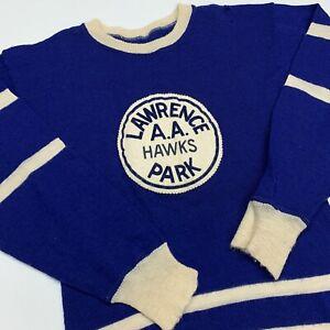 Vintage-60s-70s-Lawerence-Park-Falken-Strick-Pullover-Erwachsene-S-Hockey-AA-selten-USA