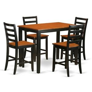 Details about 5-Piece counter height pub set - Small kitchen table and 4  kitchen bar stool.