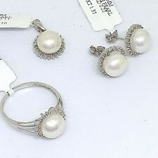 4 Piece Set 14K White Gold Pearl & Diamond Ring, Pendant & Earrings $1130 NWT