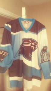 huge selection of c9a5a bbfda Details about North Carolina Panthers Subliminated Throwback Hockey Starter  Jersey Large Rare!