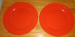 Image is loading 2-Rachel-Ray-Tangerine-Orange-Double-Ridge-Dinner- & 2 Rachel Ray Tangerine Orange Double Ridge Dinner Plates 11