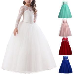 frische Stile großer Lagerverkauf großer Diskontverkauf Details zu Kinder Lang Abendkleid Spitzenkleid Blumenmädchen Tüll  Hochzeitskleid Ballkleid