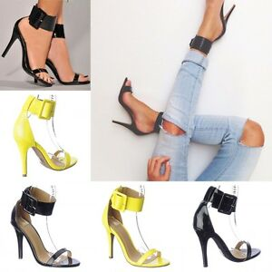4c2cf5ba1b23 Sexy Patent Ankle Cuffed strap Open Toe Stiletto High Heels Shoes ...