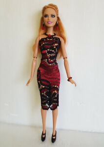 Fashionistas Barbie Clothes Red DRESS & JEWELRY Model Muse Fashion NO DOLL d4e