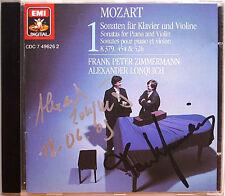 Frank Peter Zimmermann, Lonquich SIGNED Mozart Violin Sonata vol.1 CD Alexander