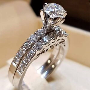 Elegant Women 925 Silver Jewelry Wedding Set Rings White Sapphire Ring Size...