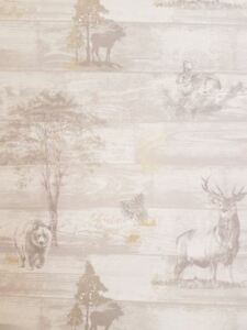 Animal-Print-Wallpaper-Stag-Bear-Oakley-Grey-Gold-Metallic-Woodland-Pine-Cone-K2