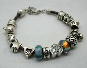 Lovely-Chamilia-Leather-Bracelet-With-15-Silver-Charms