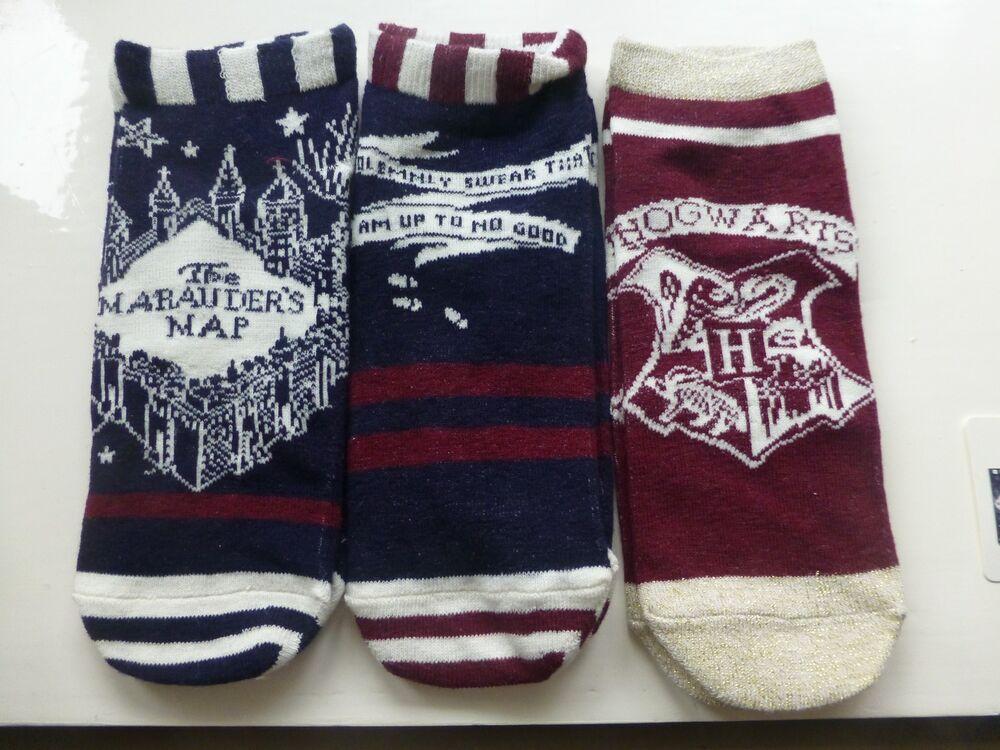 Amical Trois Paires De Chaussure Femmes Chemises Harry Potter Maraudeurs Carte Thème Taille Uk 4-8 Riche En Splendeur PoéTique Et Picturale