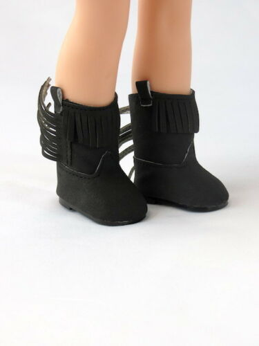 """Black Fringe Cowboy Boots Fits Wellie Wisher 14.5/"""" American Girl Shoes"""