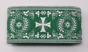Orphrey-Vintage-Cruz-Blanco-Encendido-Verde-Vestment-Banda-11-4cm-Ancho-12-8m
