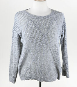 Details about Anthropologie Francescas Womens Gray Loose Knit Crew Neck Sweater Small EUC L814