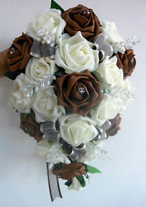 Image Is Loading BRIDES TEARDROP BOUQUET Wedding Flowers Ivory Amp Chocolate