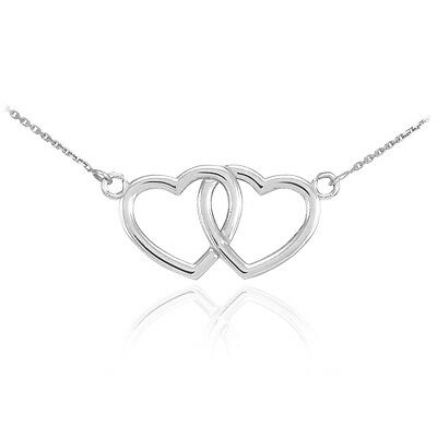 14K White Gold Double Heart Pendant Sideways Necklace Valentine's Day Gift