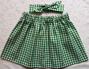 GREEN-GINGHAM-CHECK-SKIRT-AND-HEADWRAP-OR-HAIR-BOW-SET-GIRLS-SCHOOL-UNIFORM-NEW