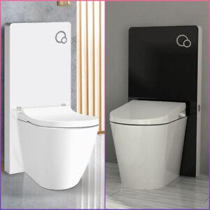 Sanitaermodul-fuer-Stand-WC-Weiss-Schwarz-glas-Betaetigungsplatte-Toilette