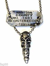 NEW Punk Gothic Skull Dog Tag Madison County Pendant Necklace Silver Chain
