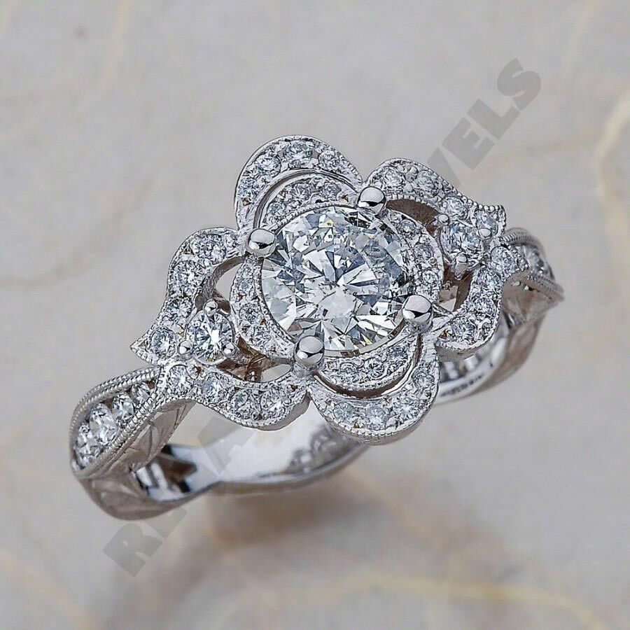 14k White gold Over 1.5 Round Diamond Antique Vintage Wedding Ring Jewelry