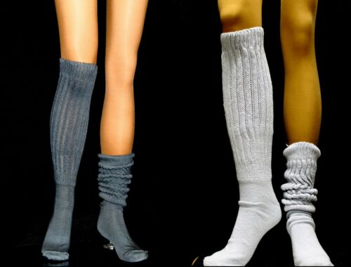 Slouch to knee Socks Lt or dark Gray whit black Pick Color flaws long large