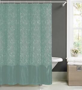 Image Is Loading Spa Blue Faux Silk Fabric Shower Curtain W