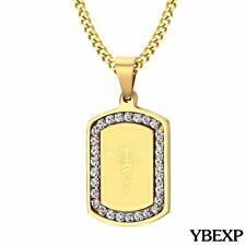 """24"""" Men's Stainless Steel Hip Hop Gold Jesus Dog Tag Pendant Necklace Chain"""