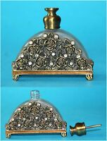 Vintage Beautiful Perfume Bottle Frosted glass Ornate Metal Facing