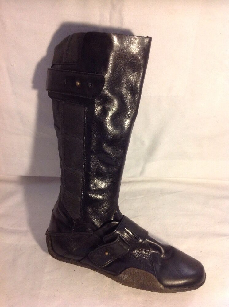 Pony Black Mid Calf Leather Boots Size 5