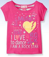 Dream Star Toddler Girls' Short Sleeve Rock Music Tee W Stripe Back Pink - 2t
