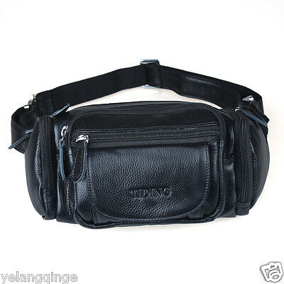 TIDING Real Leather Fanny Waist Bag Black Travel Hiking Outdoor Bag Soft Durable