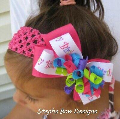 1st Happy Birthday  Layered Korker Hair Bow Soft Headband Preemie to Toddler