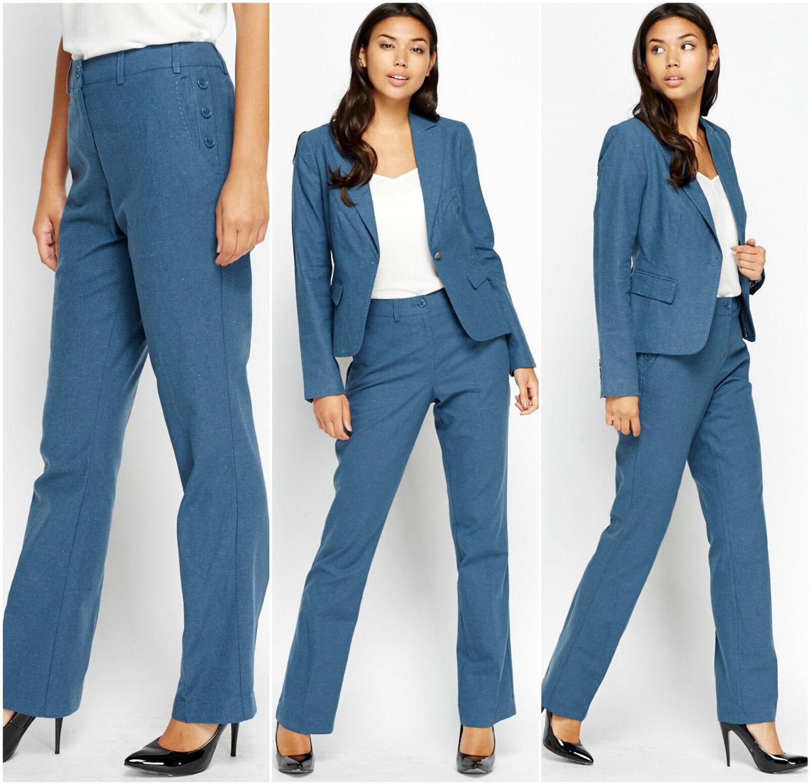 Femme d'affaires Bleu Marine Rose Blazer Sur Mesure un bouton de pantalon costumes