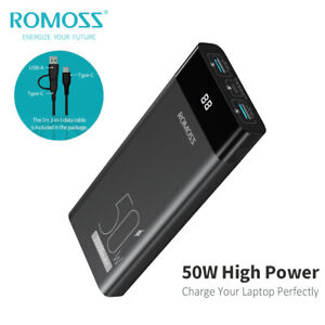 ROMOSS 50W USB-C Portable Charger PD&QC3.0 20000mAh Power Bank for Macbook Phone