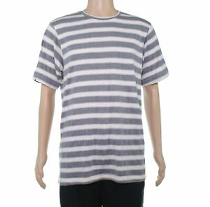 American-Apparel-Mens-T-Shirt-Pink-Gray-Size-Large-L-Vintage-Striped-Tee-32-027