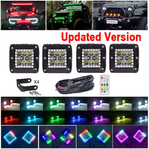 4X-3-inch-30W-LED-Work-Light-Bar-Spot-Pods-RGB-Halo-Ring-Chasing-Wireless-Remote