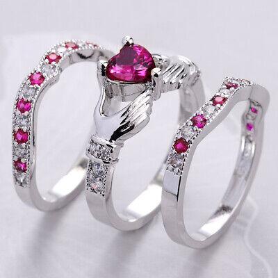 Women Pink Sapphire Opal CZ Silver Plated Ring Wedding Bridal Heart Gem Jewelry