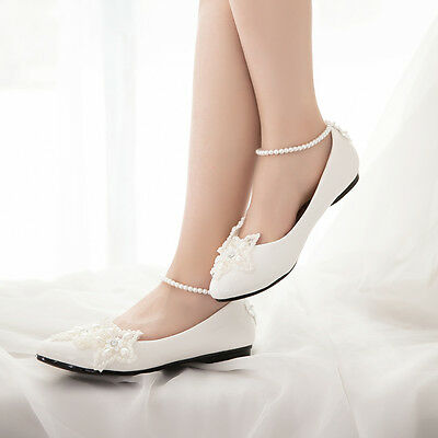 Mary Janes Ankle Across  Pearl Wedding Bridal Evening Flats Women Pumps