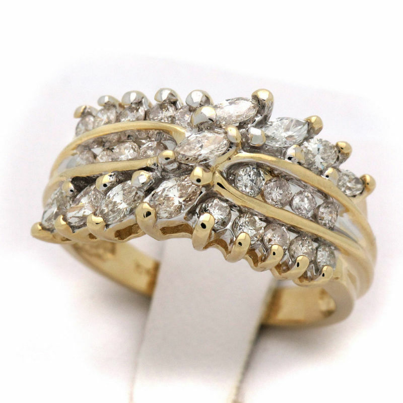 10K Womens Yellow gold Diamond Cluster Ring 1.70 CT