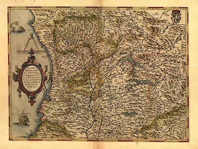 Large A1 Size Italy Milan Genoa Parma Lake Como Bergamo Old Italia Italian Map