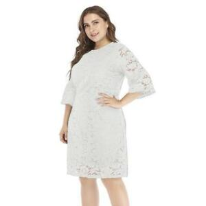 Floral Embroidery Plus Size Mesh Lace Dress 3 4 Sleeve Women Vintage ... b7f48c7dd