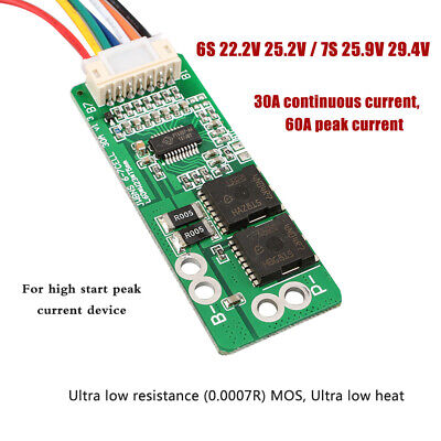 6S 7S Li-ion Lithium Battery Protection Board 60//30A 25.2 24 29.4V lipo BMS Q7