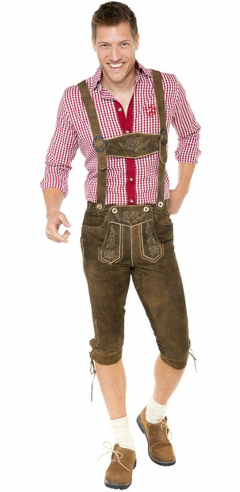 TrachtenSet C Marron Foncé Court Costumes Pantalon Cuir Costumes Chaussettes Trachtenhemd