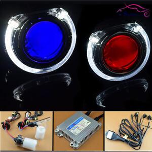 HID-Bi-xenon-Projector-Lens-Retrofit-Kit-W-LED-Angel-Halo-Devil-Eyes-Headlight