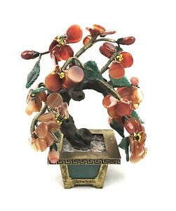 Vintage Chinese Asian Agate Jade Glass Flowering Blossom Bonsai Tree