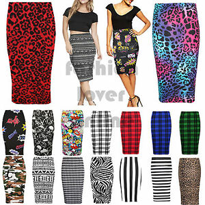 64a32e6086 Image is loading Women-Stretch-Bodycon-Midi-Printed-High-Waist-Tube-