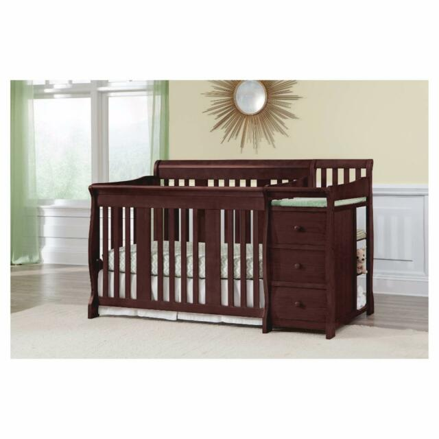 4 In 1 Convertible Crib Baby Nursery Changing Table 3 Drawers Fixed Side Toddler
