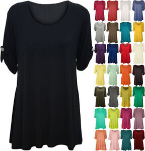 a62a81c958b New Plus Size Womens Plain Swing Flared Ladies Short Sleeve Scoop ...